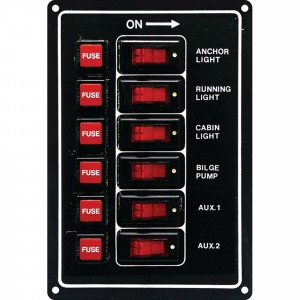 C Quip Switch Panel 6 Gang Fused