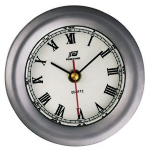Plastimo 4 inch clock, matt chrome case, bevelled glass edge