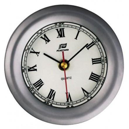 Plastimo 4 inch clock, matt chrome case, bevelled glass edge