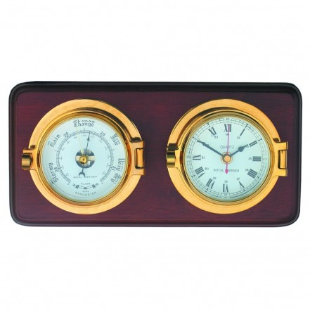 Channel Brass Clock And Barometer On Wooden Board