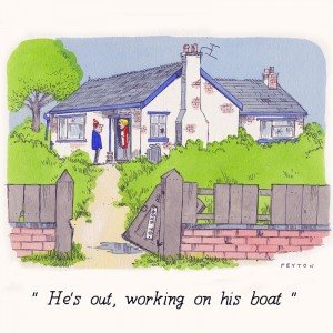 Nauticalia Greeting Card 'He's out - Working on his Boat'