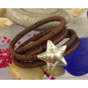 Heidi Small Star Double Strap Bracelet Brown