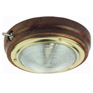 C Quip Teak Ceiling Light With Brass Trim