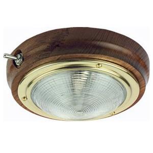 C Quip Teak Ceiling Light With Brass Trim
