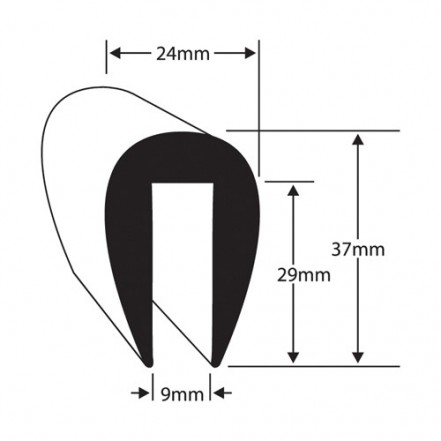 Wilks Rubber Plastics PVC U Fendering For 9mm Flange